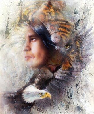 Cuadro Tigre con el águila y el guerrero indio y la ilustración del tocado. Animales de la fauna sobre fondo de pintura, contacto con los ojos, blanco, color negro y marrón