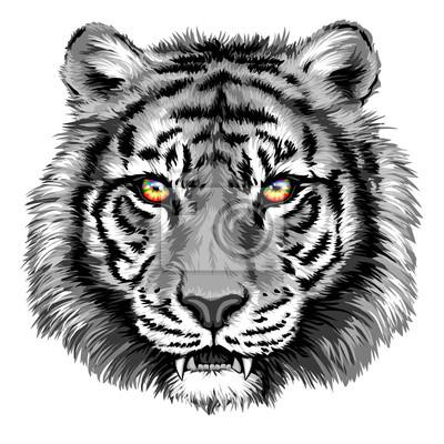 Cuadro Tigre de gran alcance con los ojos brillantes