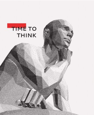 Cuadro Time to think. A man with his hand on his chin as though he was thinking. Artificial intelligence concept. Searching for answers. Your personal assistent. 3D vector illustration.
