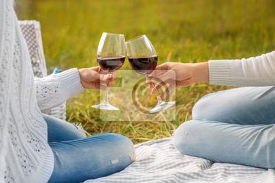 tintineo glases con el vino en un día de campo
