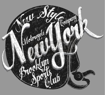 Cuadro Tipografía de casco de motocicleta New York Sports Club