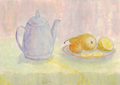 Cuadro Todavía vida con la caldera y la fruta. Pera, limón, mandarina en el plato. Pintura de acuarela