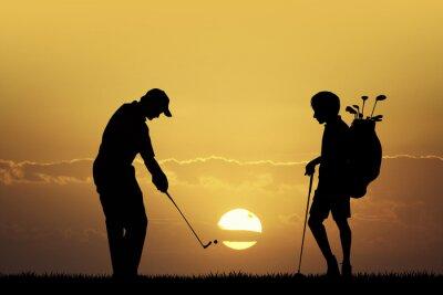 Cuadro Torneo de golf al atardecer