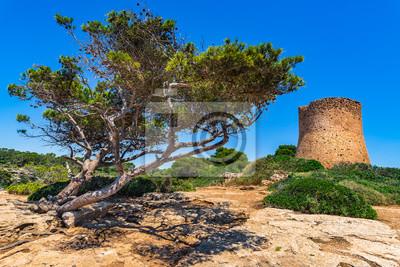 Torre de Cala Pi, torre de vigilancia costera en Mallorca España, Islas Baleares