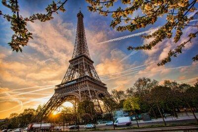 Cuadro Torre Eiffel contra la salida del sol en París, Francia