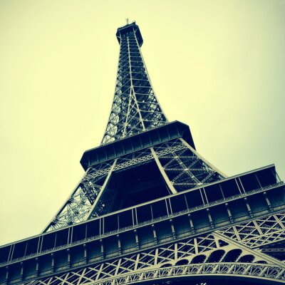 Cuadro Torre Eiffel en París, Francia con un efecto retro