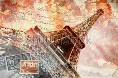 Cuadro Torre Eiffel París, arte digital abstracto, postal.