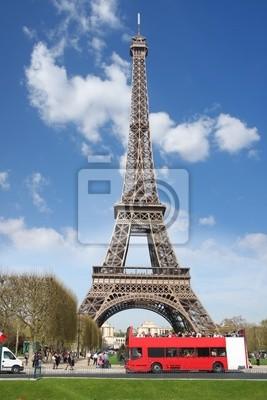 Cuadro Torre Eiifel con bus rojo, Francia, París