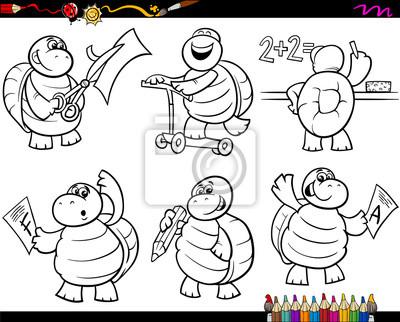 Cuadro Tortuga Escuela Para Colorear De Dibujos Animados Conjunto