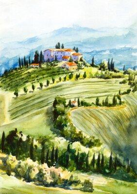Cuadro Toscana landscape. Watercolor illustration