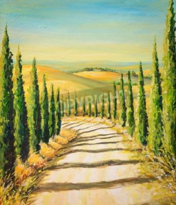 Cuadro Toscana: paisaje rural con el camino, los campos y las colinas. Imagen creada con los colores de acrílico.