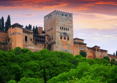 Towers of Alcazaba at Alhambra in evening time. Granada, Spain