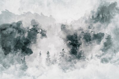 Cuadro Trabajo de arte abstracto que muestra un bosque oscuro con árboles de abedul. Medios mixtos