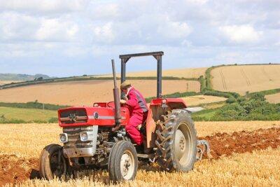 Cuadro Tractor vintage arando
