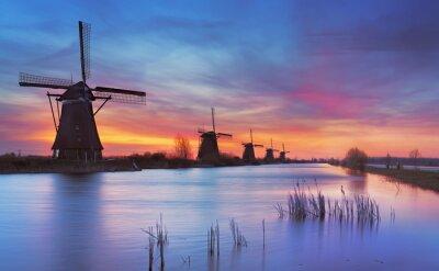 Cuadro Tradicional, molinos de viento, amanecer, Kinderdijk, Países Bajos