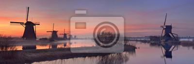 Tradicional, molinos de viento, amanecer, Kinderdijk, Países Bajos