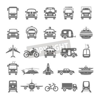 Cuadro Transporte de iconos negros