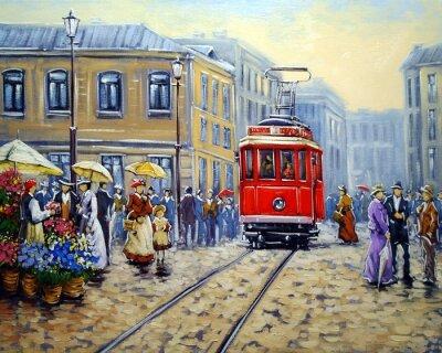 Cuadro Tranvía en la ciudad vieja, pinturas al óleo paisaje
