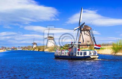 Travel in Netherlands . Traditional Holland - Windmills in Kinderdijk