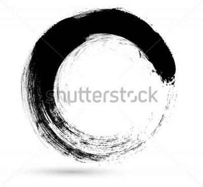 Cuadro Trazo de pincel de círculo. Plantilla de diseño de logotipo vectorial. Girar formas grunge.