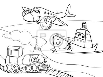Cuadro Tren Barco Avión Para Colorear De Dibujos Animados