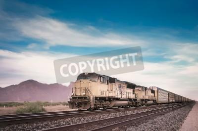Cuadro Tren de carga en ejecución viajar desierto de Arizona