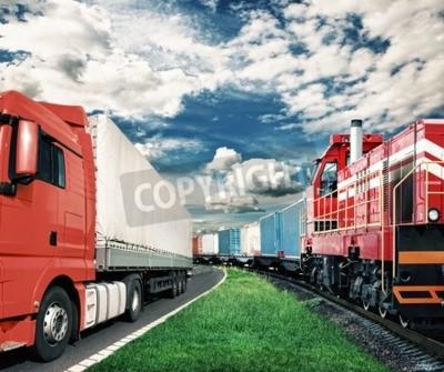 Cuadro Tren de carga y camión como concepto de transporte