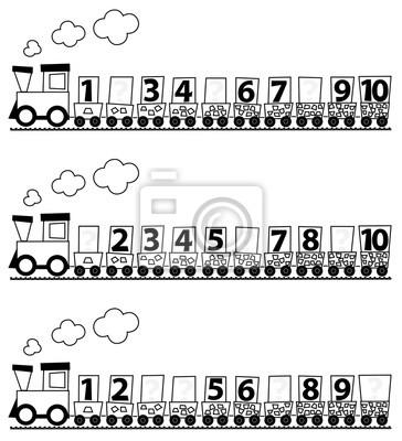 Tren Educativo De Matemáticas Para Niños Con Números 1 10