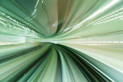 Cuadro Tren moviéndose rápido en el túnel