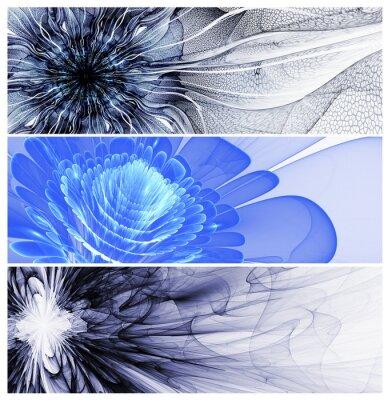 Cuadro Tres baners flores abstractas