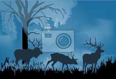 tres ciervos silueta en azul bosque