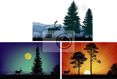 tres composiciones con deeres cerca de árboles altos