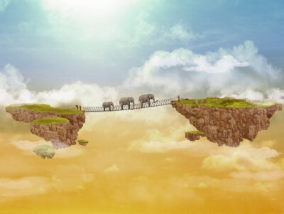 Cuadro Tres elefantes. Ilustración.