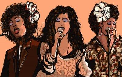 Cuadro Tres mujeres cantantes de jazz