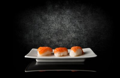 Cuadro Tres sushi en negro