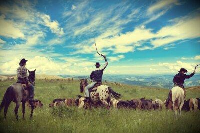 Cuadro Tres vaqueros en coche manada de caballos, tonificación, viñetas