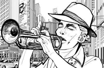 Cuadro trompetista in new-york