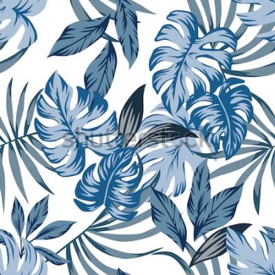 Cuadro Tropic palm exótica deja patrón de vector transparente en un moderno estilo vintage azul. Imprima la ilustración de la moda de la naturaleza que pinta el papel pintado floral de la selva en un fondo b