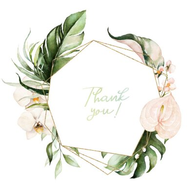 Cuadro Tropical exotic watercolor floral geometric frame. Green & gold leaves, blush flowers. For wedding stationary, greetings, wallpaper, fashion, background. Palm fern banana green leaves.