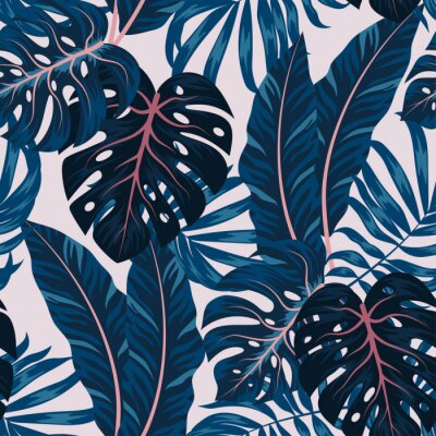 Cuadro Tropical seamless pattern with colorful plants. Floral seamless vector tropical pattern background with exotic leaves, jungle leaf. Exotic wallpaper, Hawaiian style. Seamless vector texture.