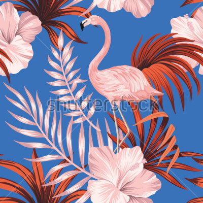 Cuadro Tropical vintage pink flamingo, red palm leaves floral seamless pattern blue background. Exotic jungle wallpaper.