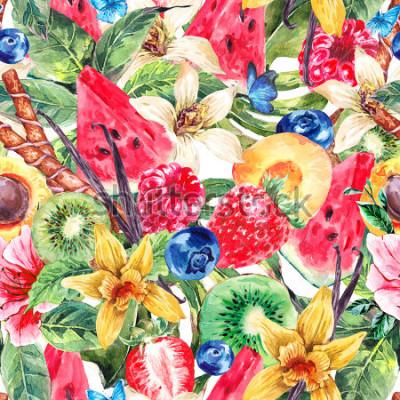 Cuadro Tropical Watercolor Natural Healthy Food Eco Seamless Pattern with Watermelon, Apricot, Kiwi, Vanilla and Berries, Nature Exotic Menu Fruits Pattern