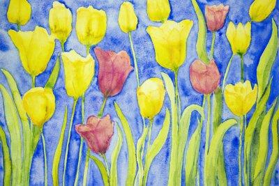 Cuadro Tulipanes amarillos y rojos sobre un fondo azul. La técnica de pinchado cerca de los bordes da un efecto de enfoque suave debido a la rugosidad superficial alterada del papel.