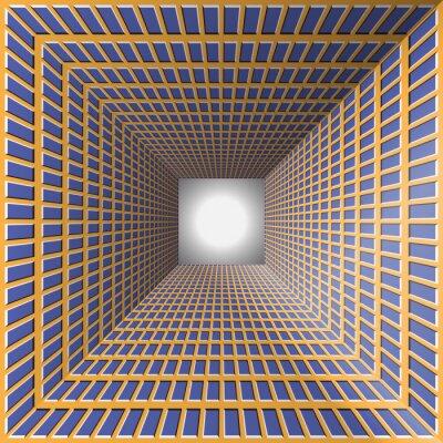 Cuadro Túnel con paredes a cuadros. Fondo abstracto con la ilusión óptica del movimiento.