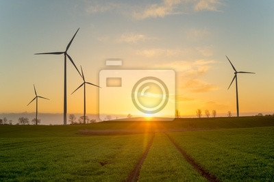 turbiny wiatrowe na polu, podczas wschodu słońca
