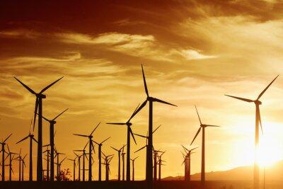 Cuadro Turbrines de viento en la puesta del sol