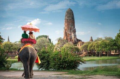 Cuadro Turistas en un elefante ride tour de la antigua ciudad Ayutaya, tailandia