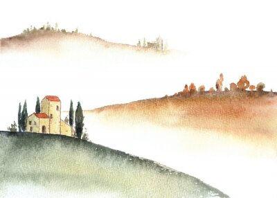 Cuadro Tuscan villa and distant hills landscape watercolor painting.