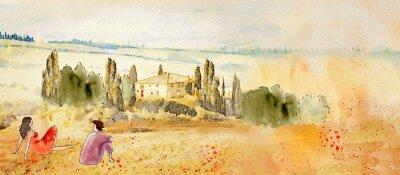 Cuadro Tuscany, romantic date. Watercolor