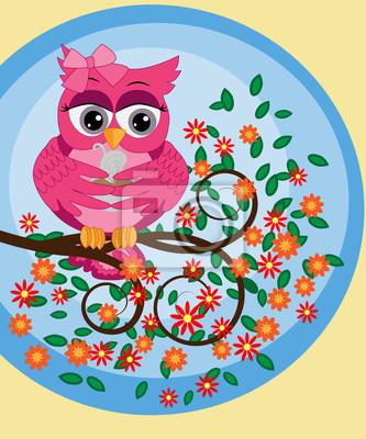 Un Brillante Dibujos Animados Hermoso Búho Rosado Con Un Arco